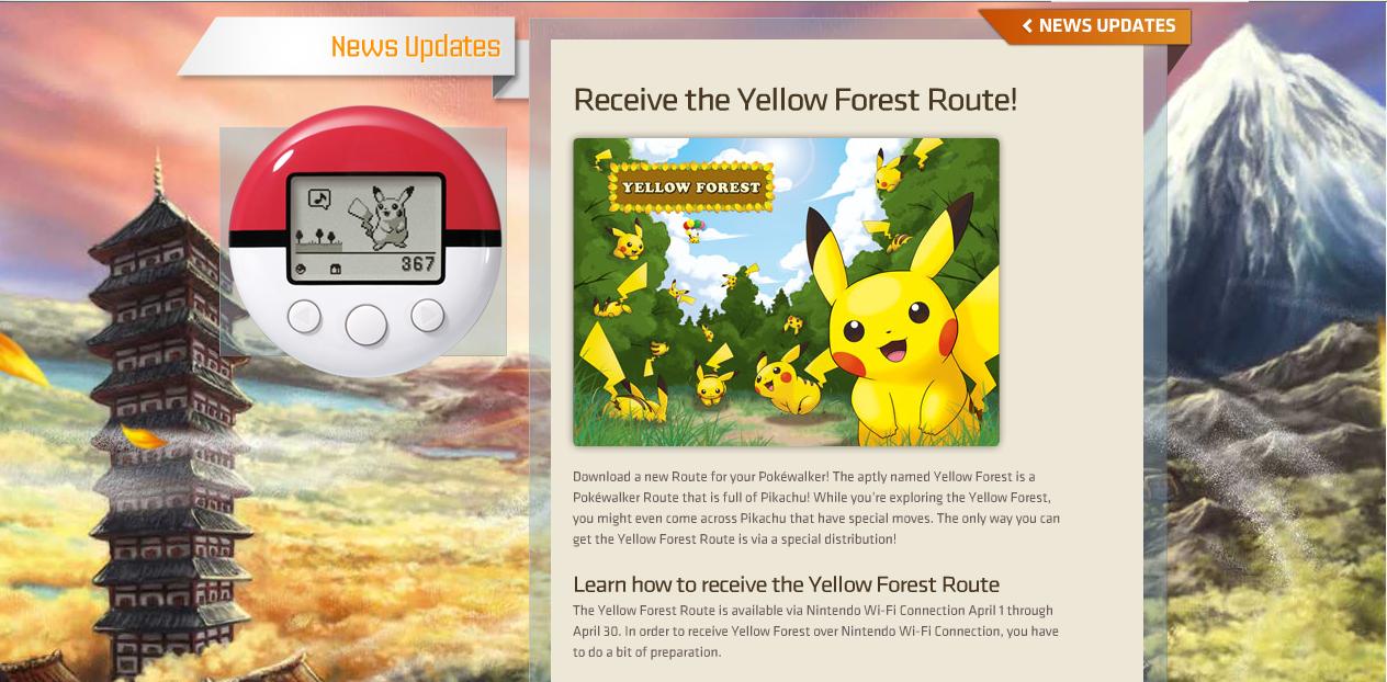 Recorre un Bosque Amarillo en tu PokéWalker