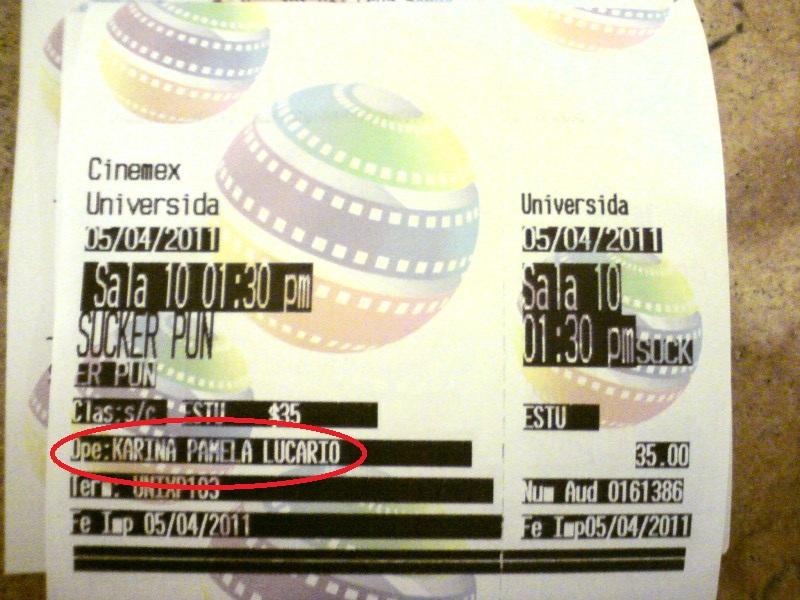 Lucario me vendió un boleto de cine